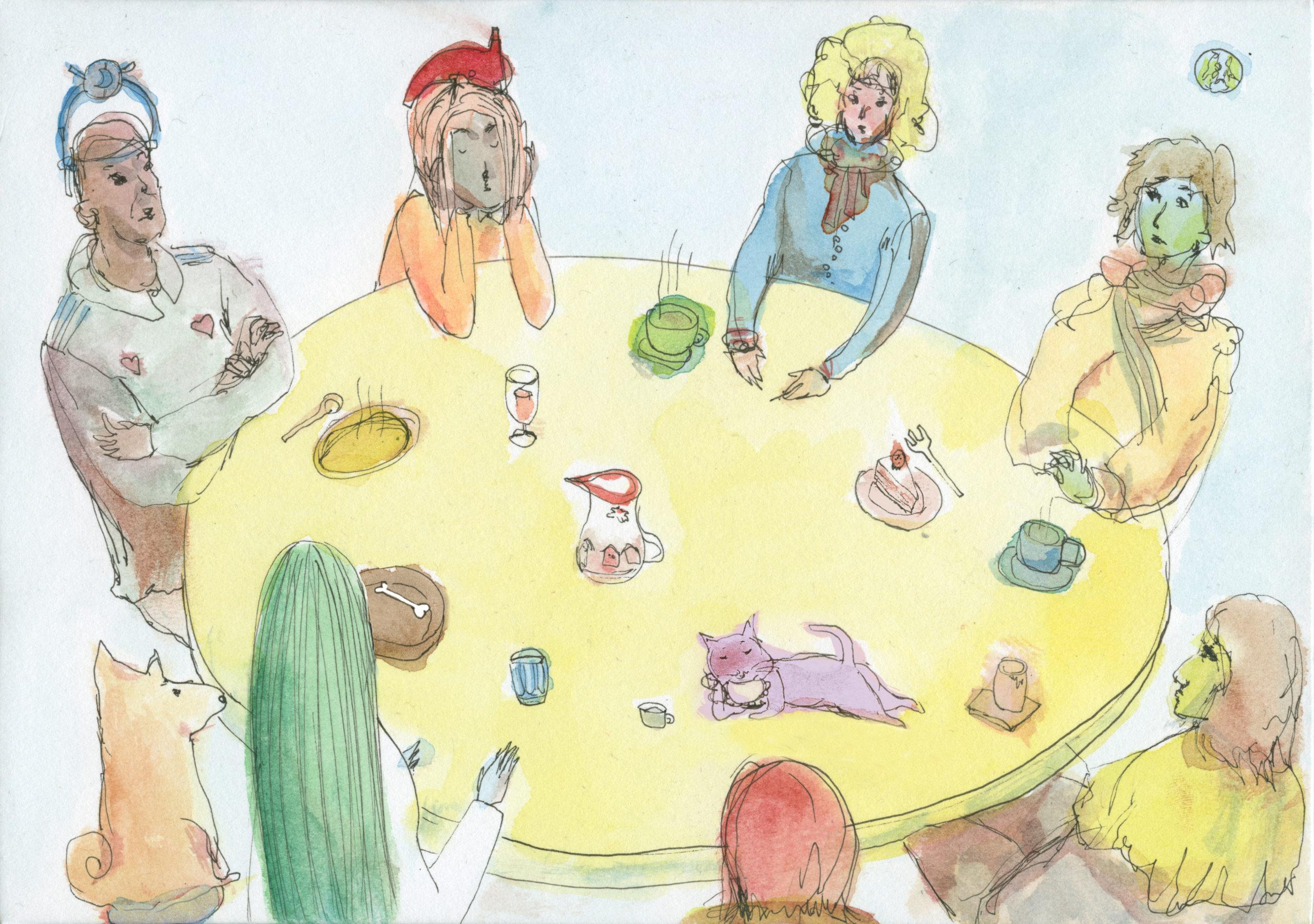 illustration of people gathering